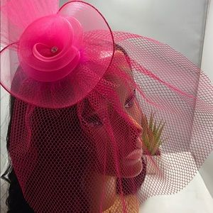 Pillbox Hat Fascinator with Veil in Black or Pink